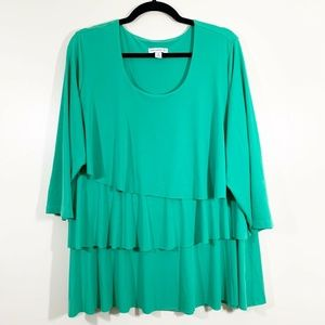 SusanGraver Green Scoop 3/4Sleeve Ruffled Knit Top